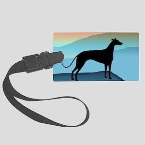 greyhound blue mt tall2 Large Luggage Tag