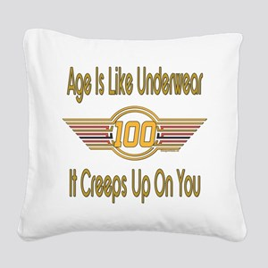 BirthdayUnderwear100 copy Square Canvas Pillow