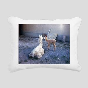 mom and baby llama Rectangular Canvas Pillow