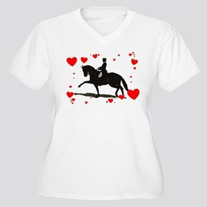 Dressage and Hearts Women's Plus Size V-Neck T-Shi