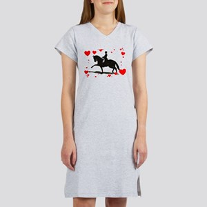 Dressage and Hearts Women's Nightshirt