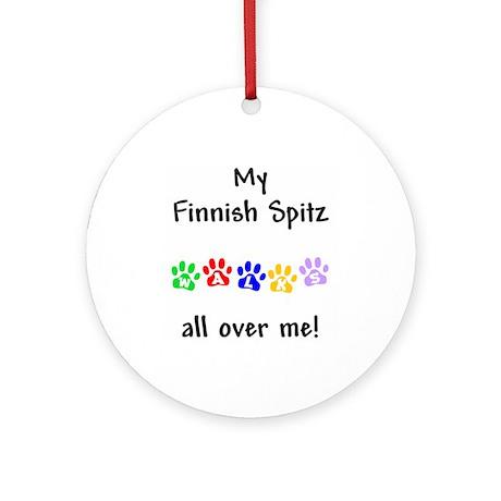 Finnish Spitz Walks Ornament (Round)
