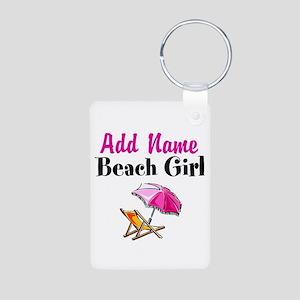 BEACH GIRL Aluminum Photo Keychain