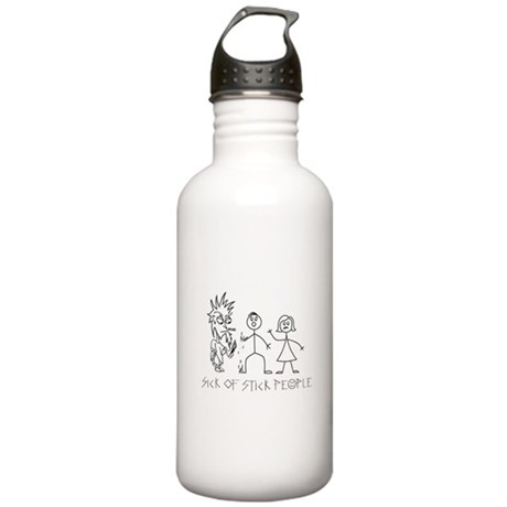Sick of Stick People burn Stainless Water Bottle 1