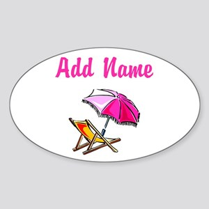 BEACH GIRL Sticker (Oval)