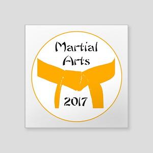 "Martial Arts Orange Belt Square Sticker 3"" x 3"""