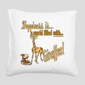 HappinessGiraffes copy Square Canvas Pillow