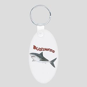 Business Shark Aluminum Oval Keychain