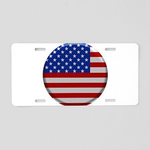 USA Flag Button Aluminum License Plate