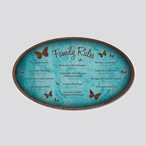 Bible Verse Family Rules 22x14 Oval Wall Peel