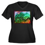 Green Mountains Women's Plus Size V-Neck Dark T-Sh