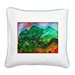 Green Mountains Square Canvas Pillow