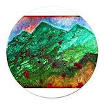 Green Mountains Round Car Magnet