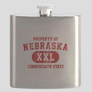 Property of Nebraska the Cornhuskers State Flask