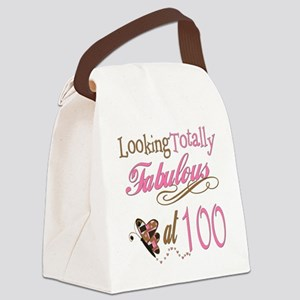 FabPinkBrown100 Canvas Lunch Bag