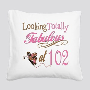FabPinkBrown102 Square Canvas Pillow
