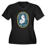 USS HUGH PUR Women's Plus Size V-Neck Dark T-Shirt