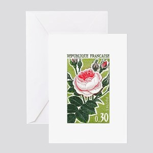 French Rose Postage Stamp Greeting Cards