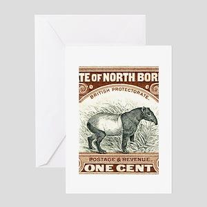North Borneo Tapir Postage Stamp 1904 Greeting Car