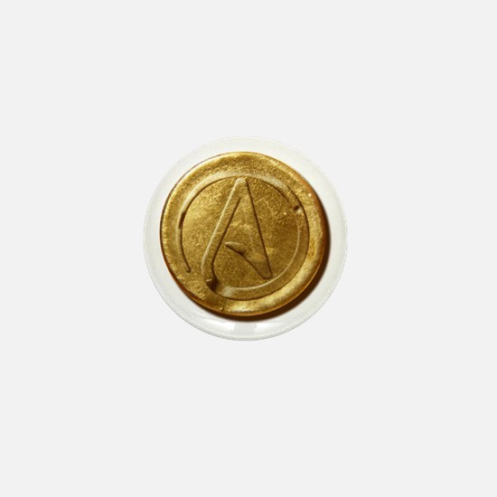 Atheist Gold Coin Mini Button