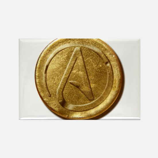 Atheist Gold Coin Rectangle Magnet