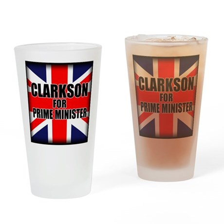 Clarkson for Prime Minister Drinking Glass