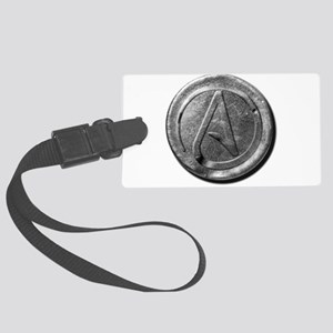 Atheist Silver Coin Large Luggage Tag