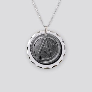 Atheist Silver Coin Necklace Circle Charm