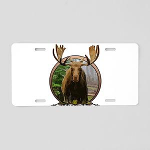 Moose in woods Aluminum License Plate