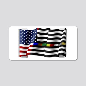 Thin Line Combo Flag Aluminum License Plate