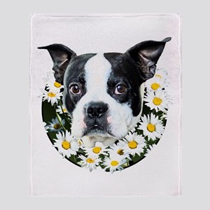 Terrier in daisies Throw Blanket