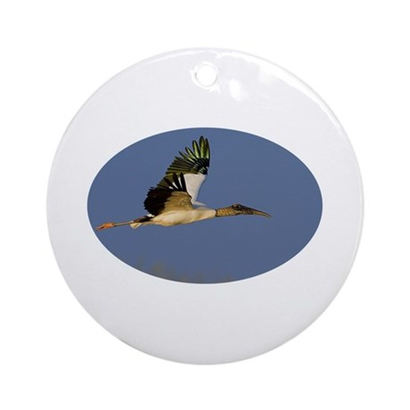Sunset Wood Stork Ornament (Round)