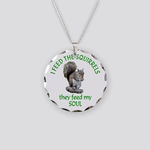Squirrel Feeder Necklace Circle Charm