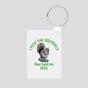Squirrel Feeder Aluminum Photo Keychain