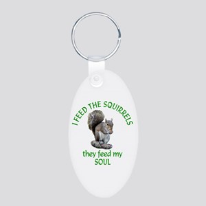Squirrel Feeder Aluminum Oval Keychain