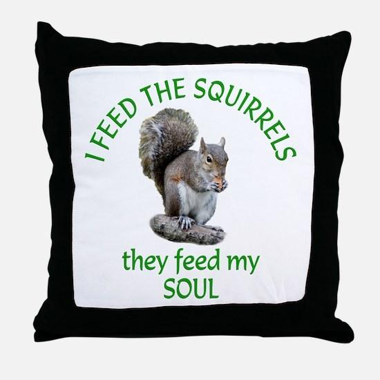 Squirrel Feeder Throw Pillow