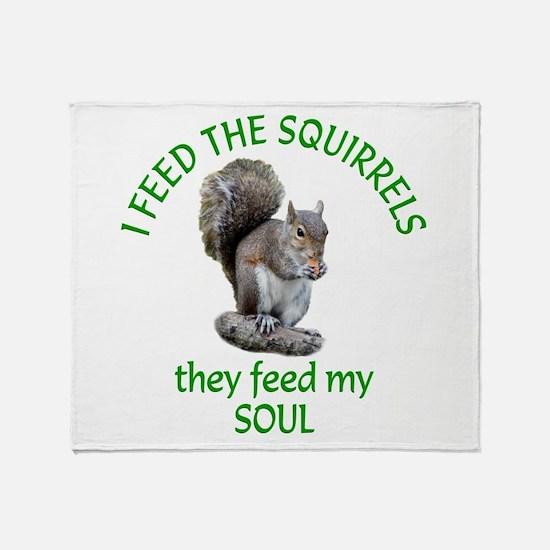 Squirrel Feeder Throw Blanket