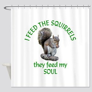 Squirrel Feeder Shower Curtain