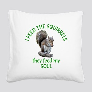 Squirrel Feeder Square Canvas Pillow