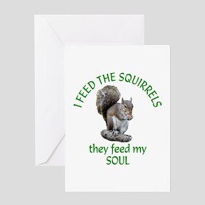 Squirrel Feeder Greeting Card