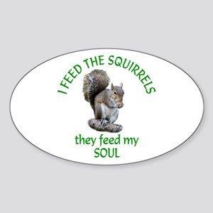 Squirrel Feeder Sticker (Oval)
