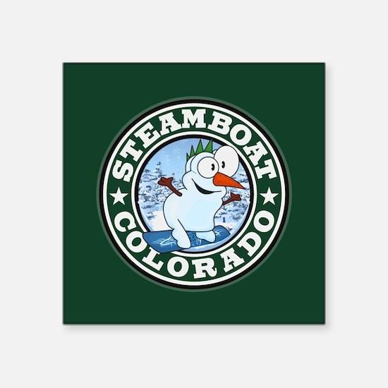 "Steamboat Snowman Circle Square Sticker 3"" x 3"""