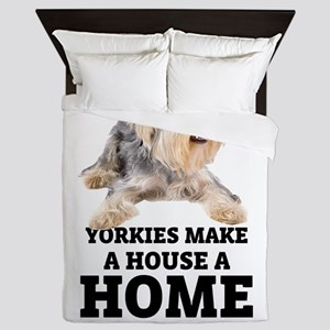 Home with Yorkies Queen Duvet