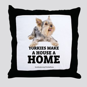 Home with Yorkies Throw Pillow