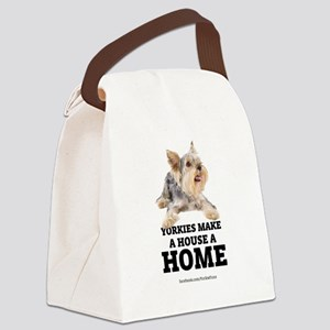 Home with Yorkies Canvas Lunch Bag