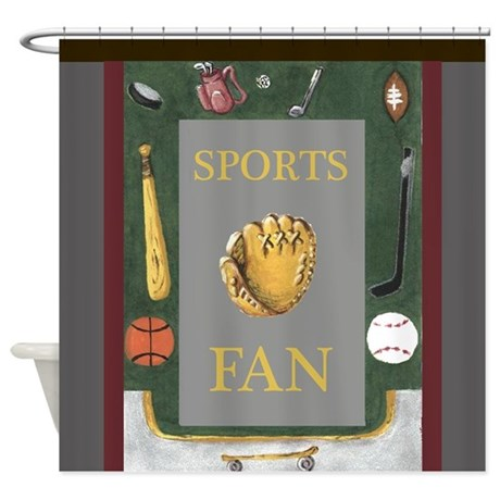 Sports Fan with Equipment Shower Curtain by Krist