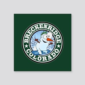 "Breckenridge Snowman Circle Square Sticker 3"" x 3"""