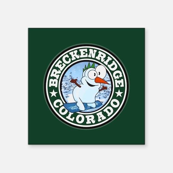"""Breckenridge Snowman Circle Square Sticker 3"""" x 3"""""""
