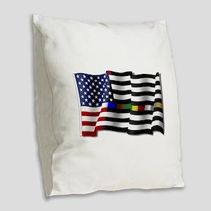 Thin Line Combo Flag Burlap Throw Pillow