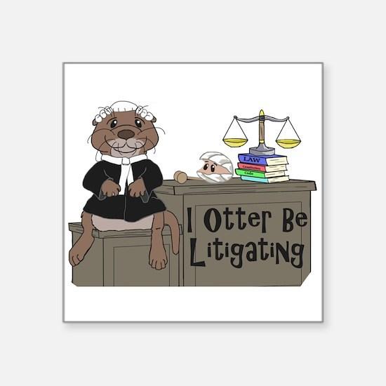 """Cute River otter Square Sticker 3"""" x 3"""""""